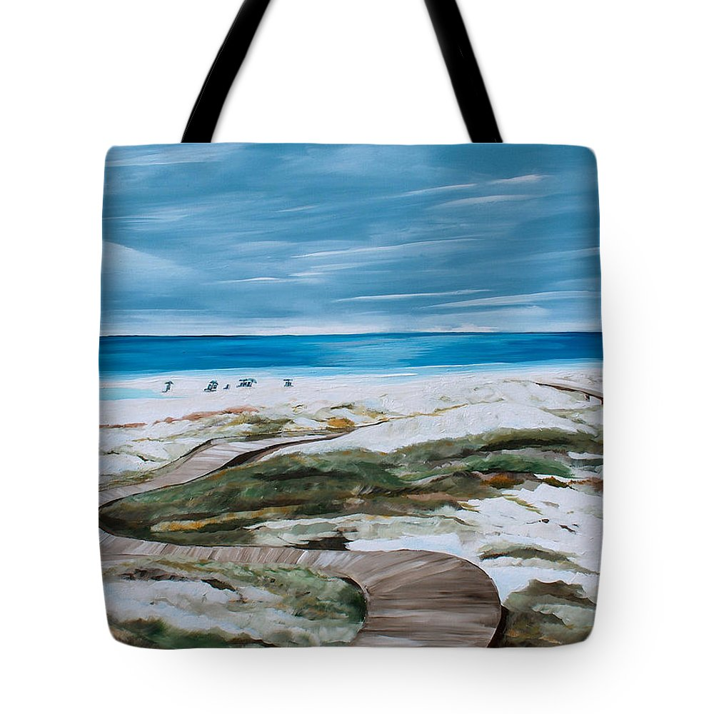 Beach Tote Bag featuring the painting Pathway by Racquel Morgan
