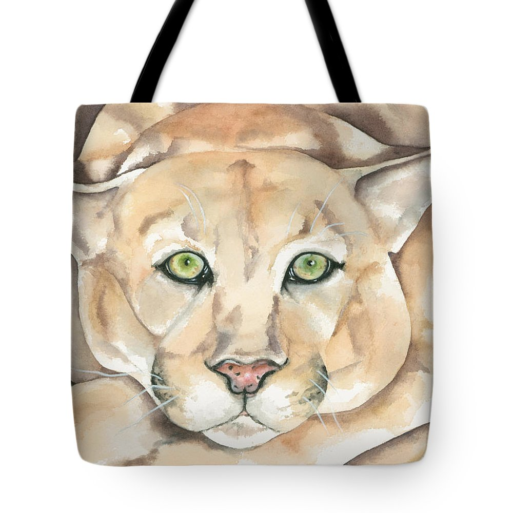 Mountain Lion Tote Bag featuring the painting Patient Kitty by Kimberly Lavelle