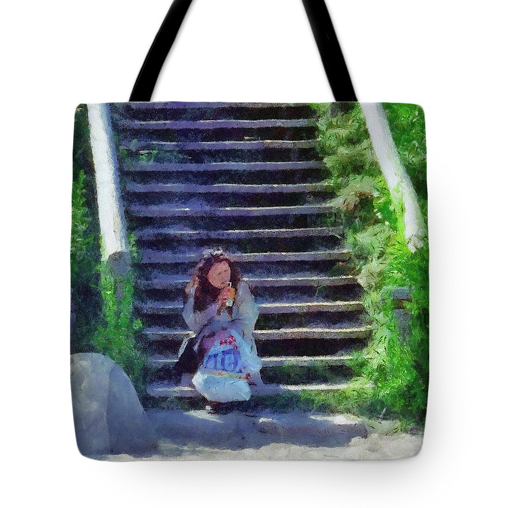 Woman Tote Bag featuring the painting Patiently Waiting by Jeffrey Kolker