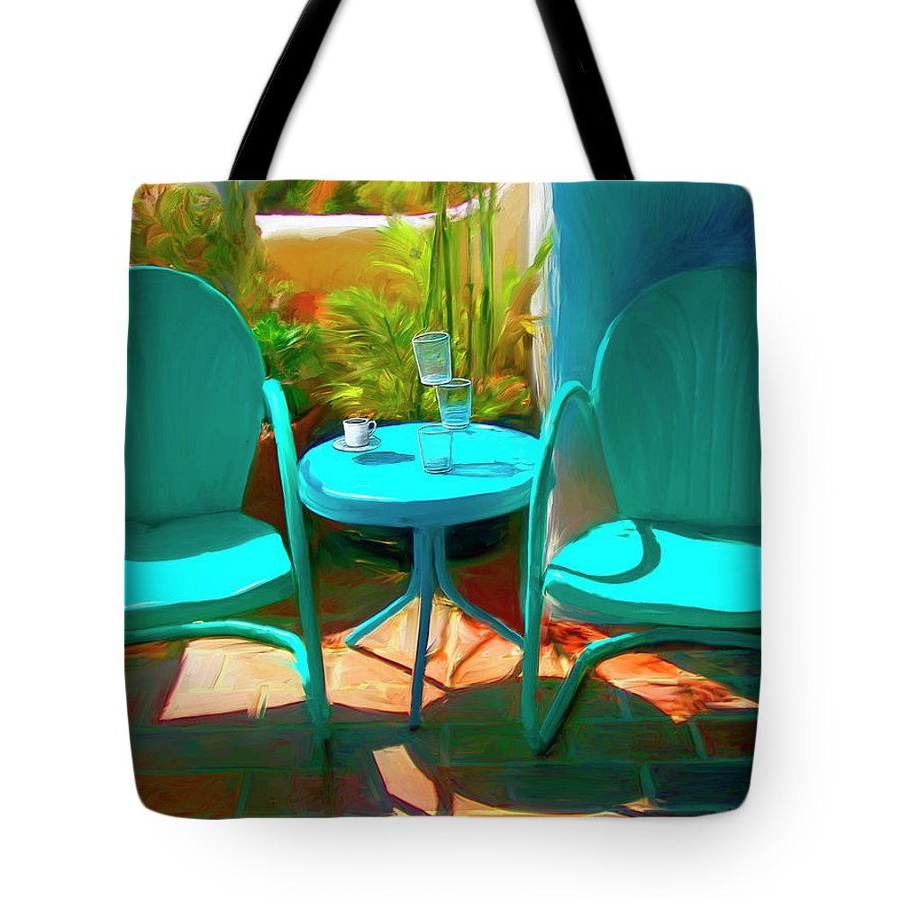 Catalina Tote Bag featuring the digital art Patio Antics by Snake Jagger