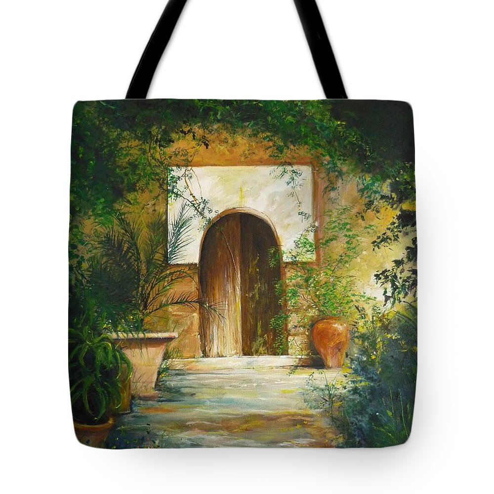 Farmhouse Courtyard Tote Bag featuring the painting Patio Mallorquin by Lizzy Forrester