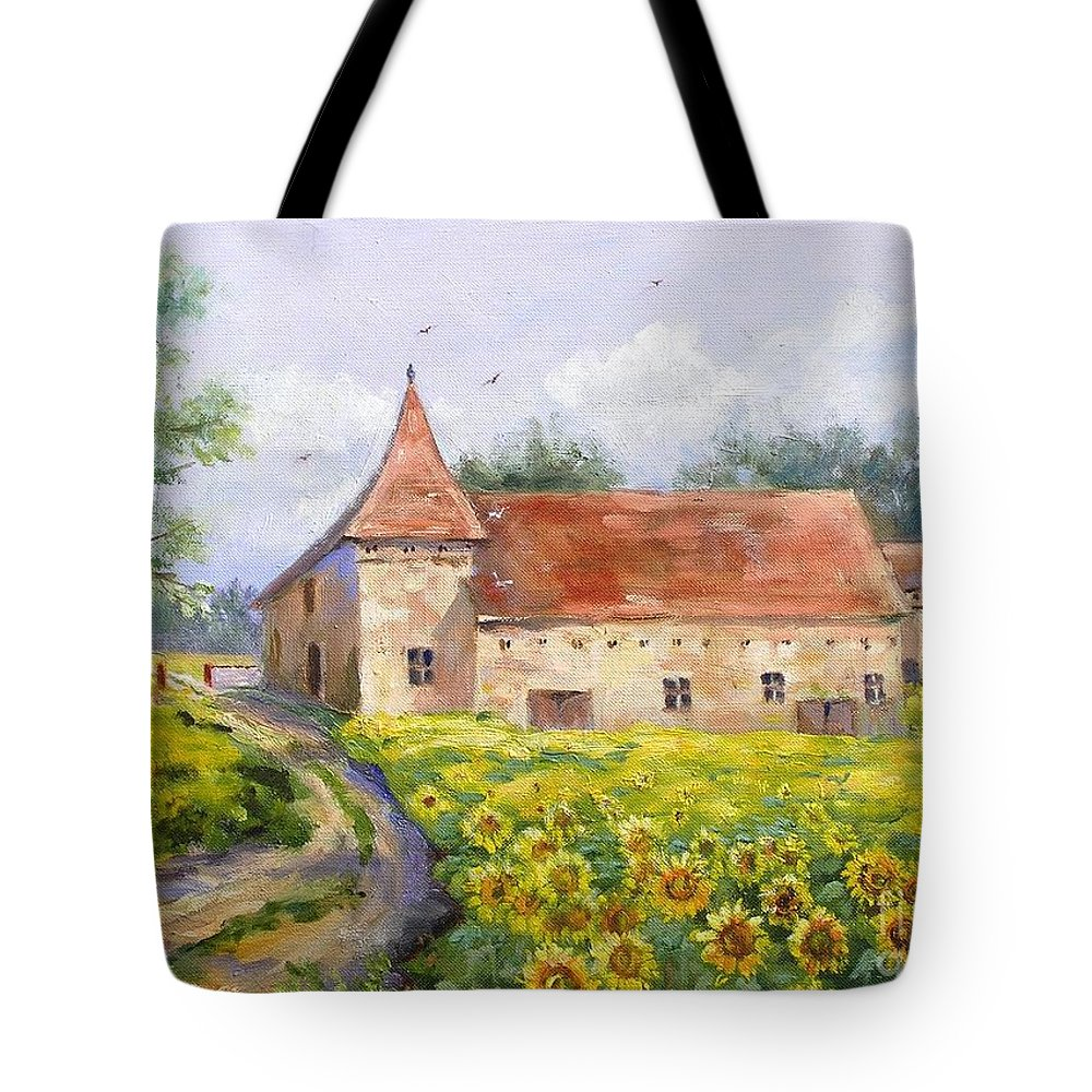 France Tote Bag featuring the painting Patricks Barn by Barbara Couse Wilson