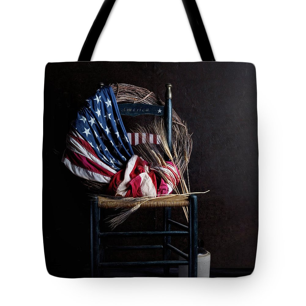 America Tote Bag featuring the photograph Patriotic Decor by Tom Mc Nemar