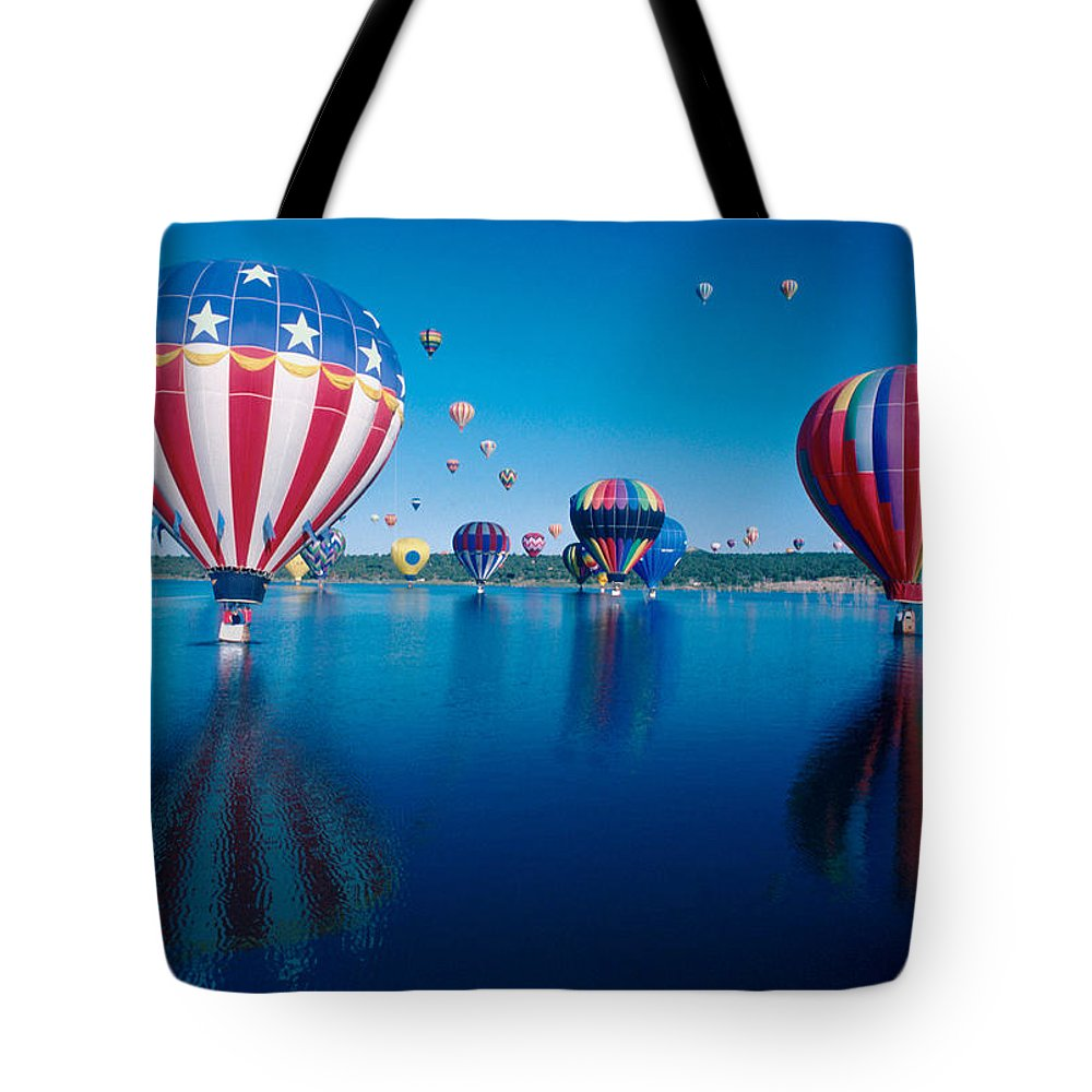 Hot Air Balloons Tote Bag featuring the photograph Patriotic Hot Air Balloon by Jerry McElroy