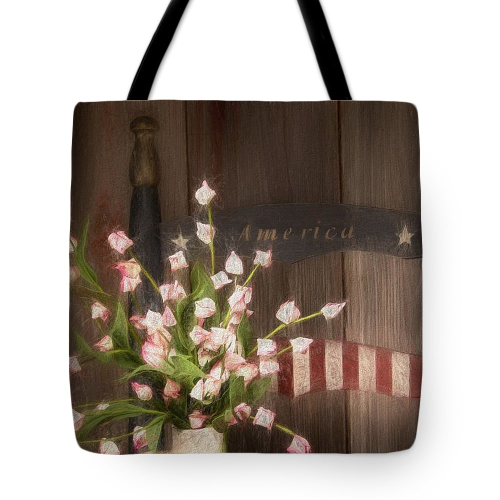 America Tote Bag featuring the photograph Patriotic Seating by Tom Mc Nemar