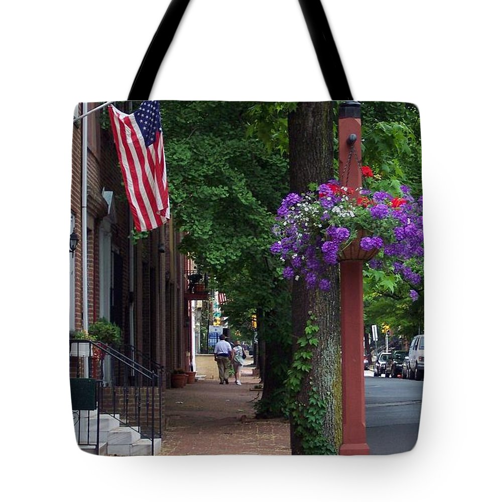 Cityscape Tote Bag featuring the photograph Patriotic Street In Philadelphia by Debbi Granruth