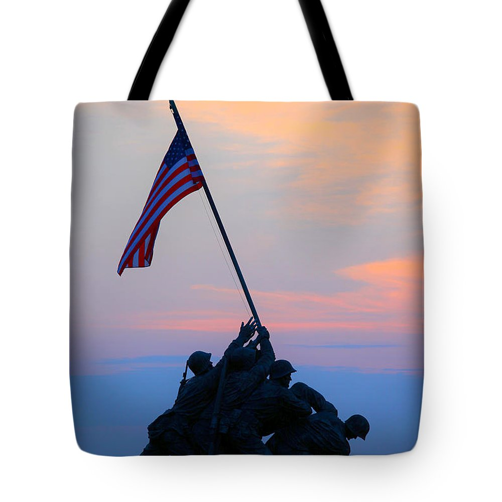 Marine Corps Memorial Tote Bag featuring the photograph Patriotism by Mitch Cat