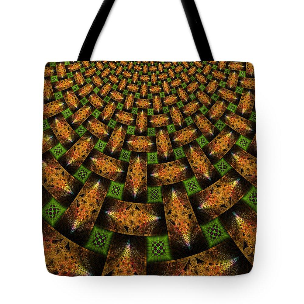 Elena Riim Tote Bag featuring the digital art Pattern Brown With Green by Elena Riim