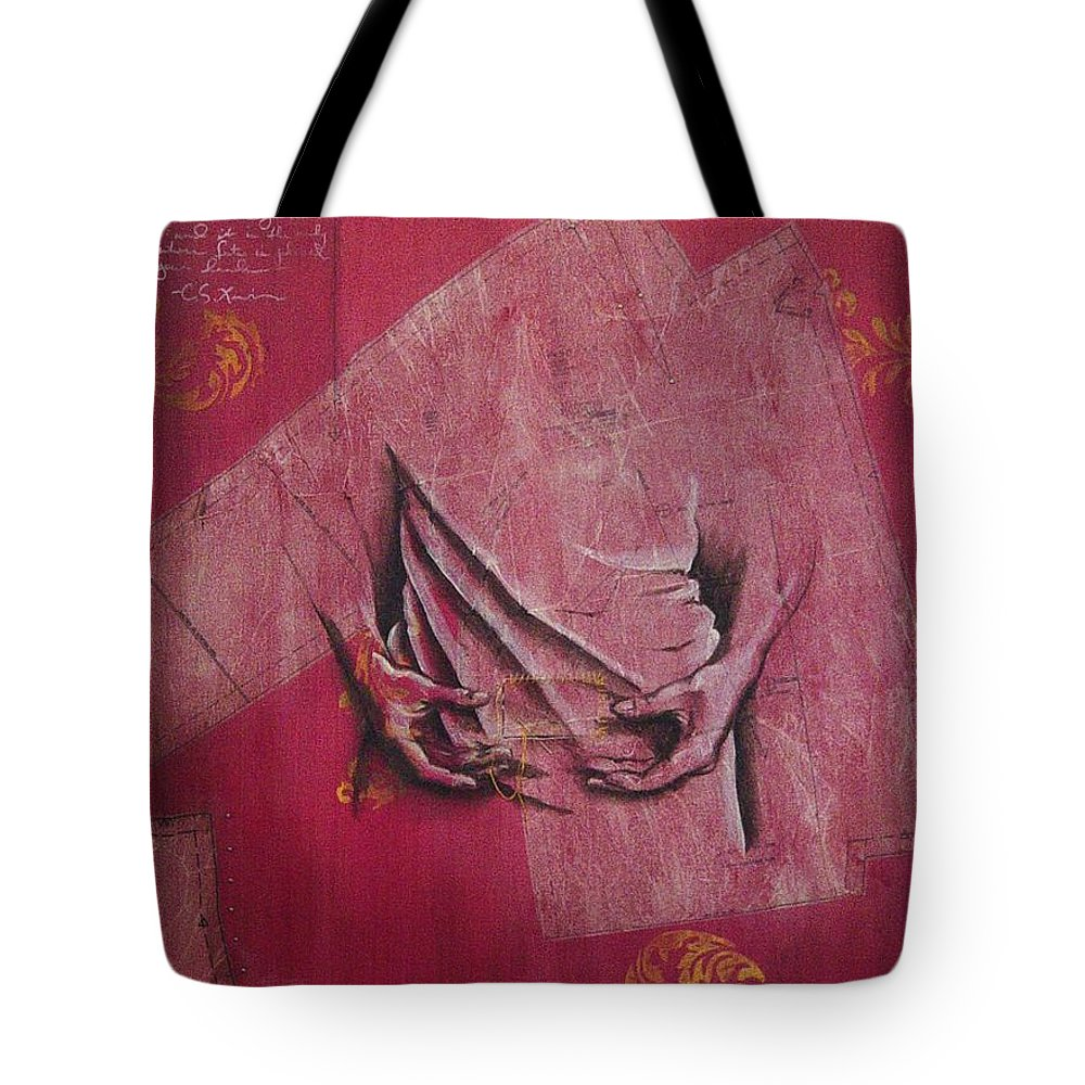 Hands Tote Bag featuring the painting Pattern Pieces by Rowena Finn