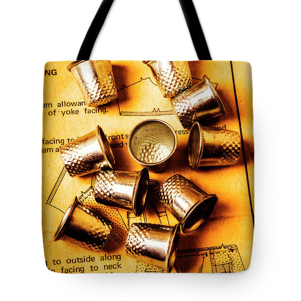 Thimble Tote Bag featuring the photograph Patterns And Thimbles by Jorgo Photography - Wall Art Gallery