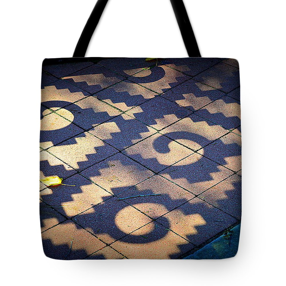 Street Tiles Tote Bag featuring the photograph Patterns Azteca by Kimberly-Ann Talbert