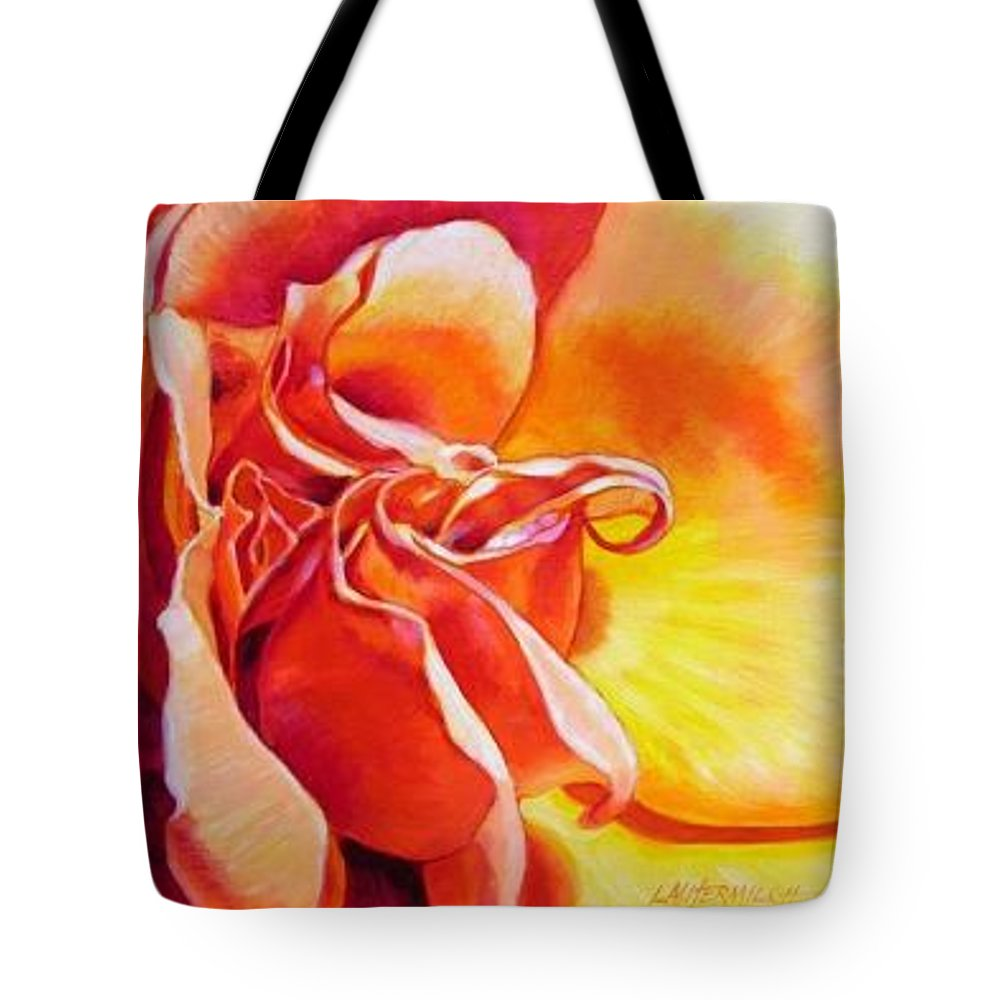 Close Up Of A Reddish Tote Bag featuring the painting Patterns Of A Rose by John Lautermilch