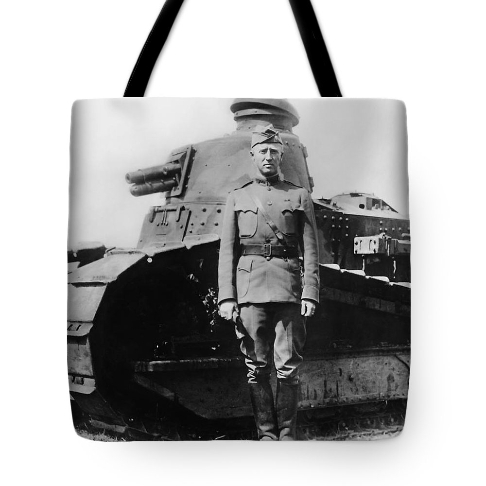 George Patton Tote Bag featuring the photograph Patton Beside a Renault Tank - WWI by War Is Hell Store