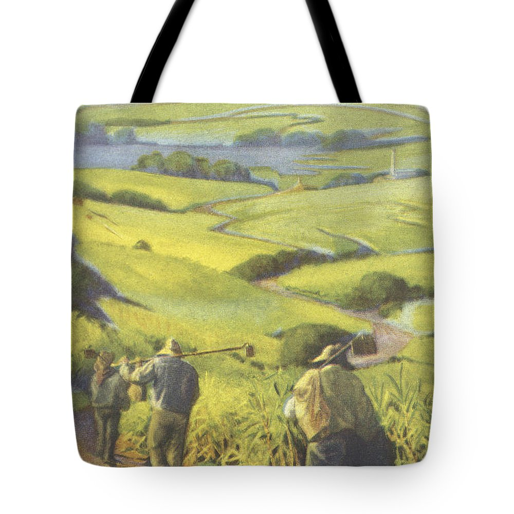 1935 Tote Bag featuring the painting Pau Kanaka Work by Hawaiian Legacy Archive - Printscapes