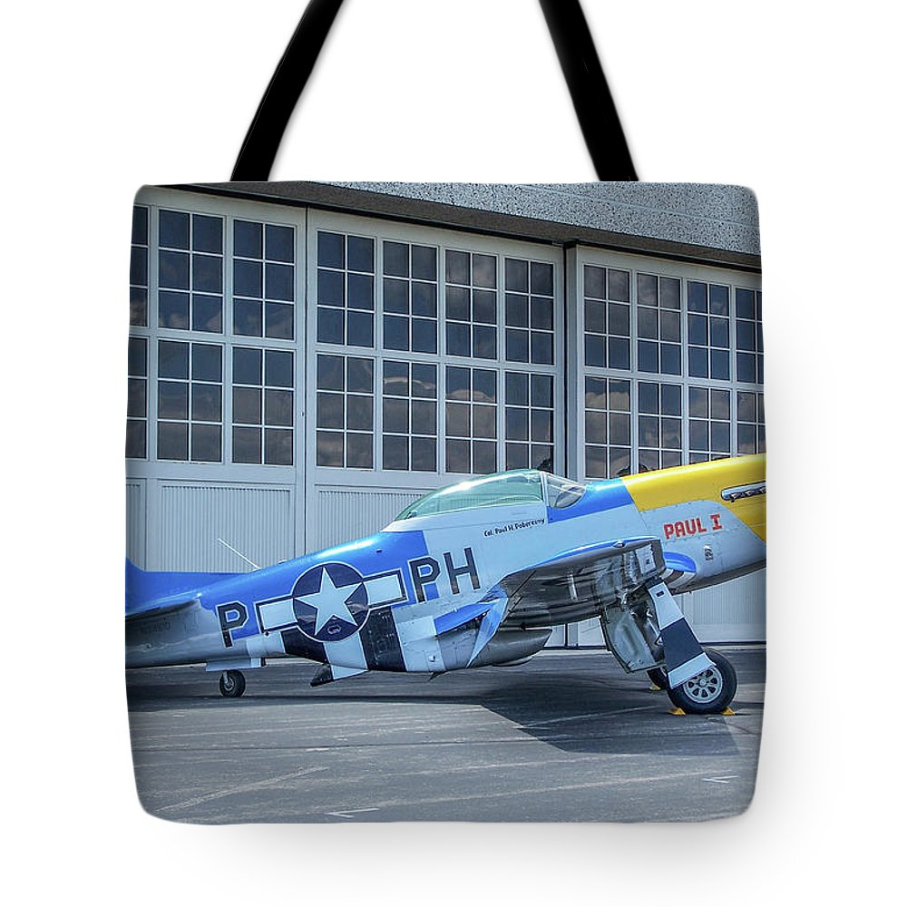 North American P-51d Mustang Tote Bag featuring the photograph Paul 1 P-51d Mustang by Tommy Anderson