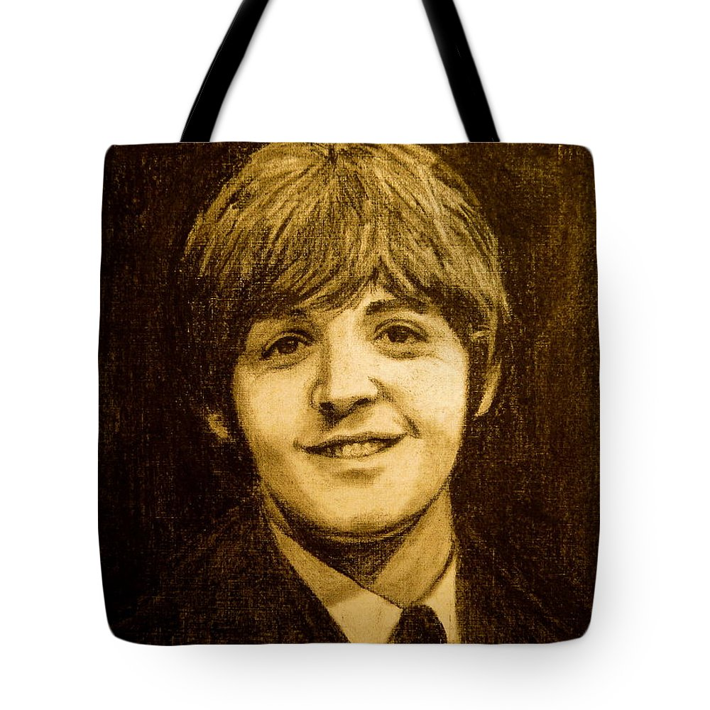 Musicians Tote Bag featuring the drawing Paul by Jorge Rodriguez