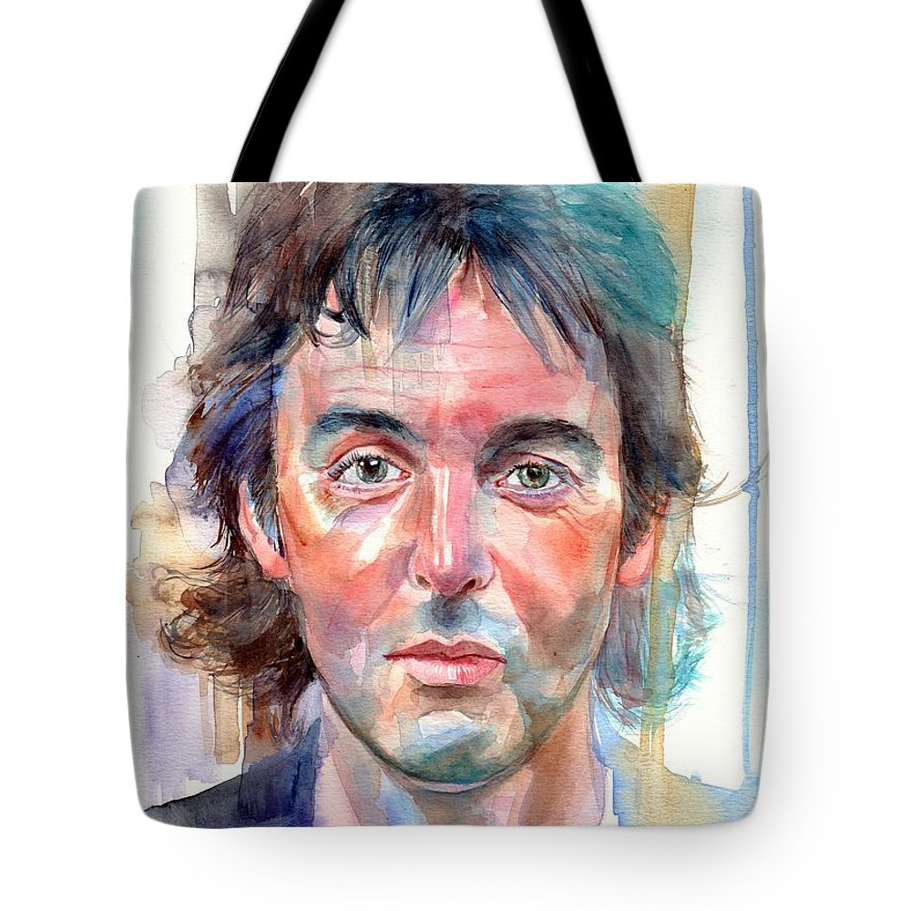 Paul Tote Bag featuring the painting Paul Mccartney Young Portrait by Suzann Sines