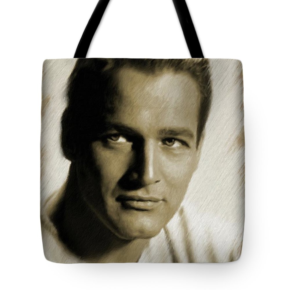 Paul Tote Bag featuring the painting Paul Newman, Actor by Mary Bassett