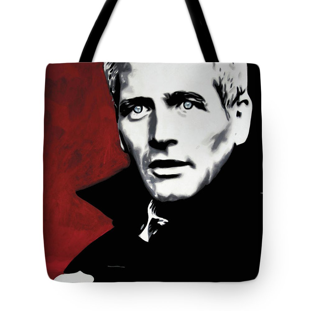 Paul Newman Tote Bag featuring the painting Paul Newman by Luis Ludzska