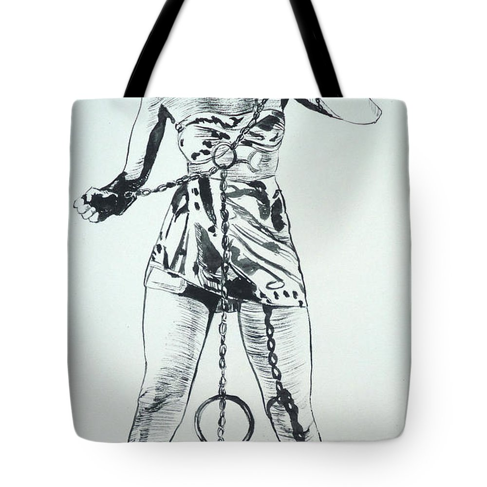 Monster Movies Tote Bag featuring the painting Paula Captive Wild Woman by Bryan Bustard