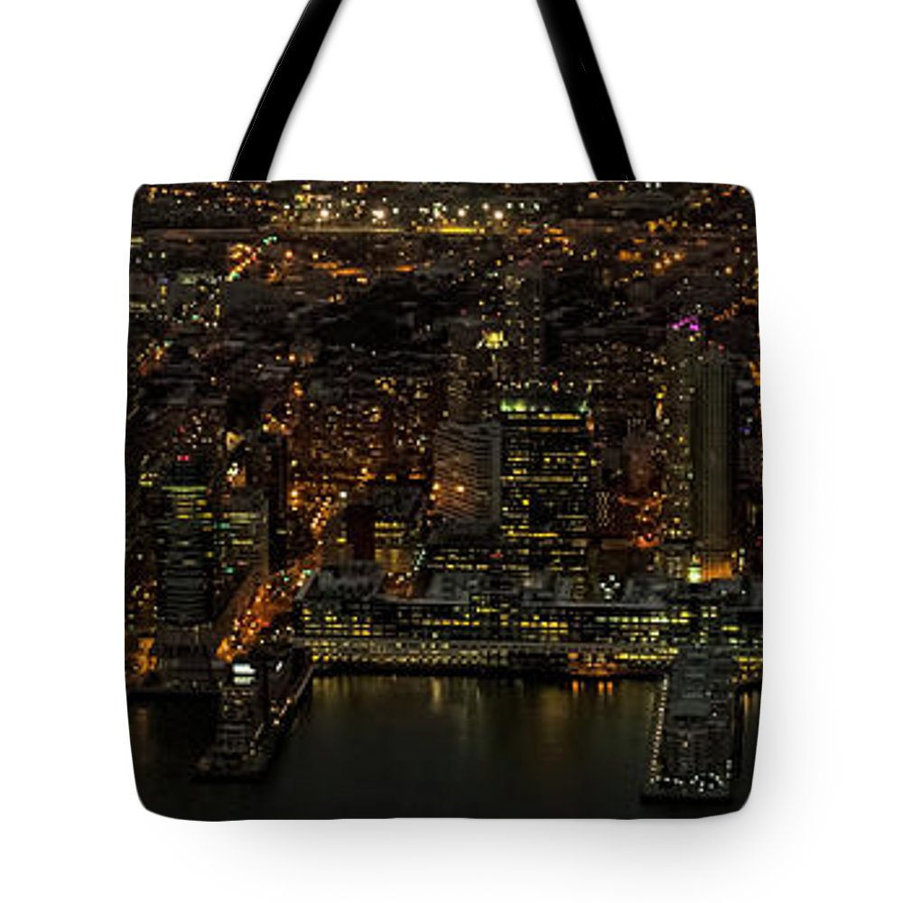 Paulus Hook Tote Bag featuring the photograph Paulus Hook, Jersey City Aerial Night View by David Oppenheimer