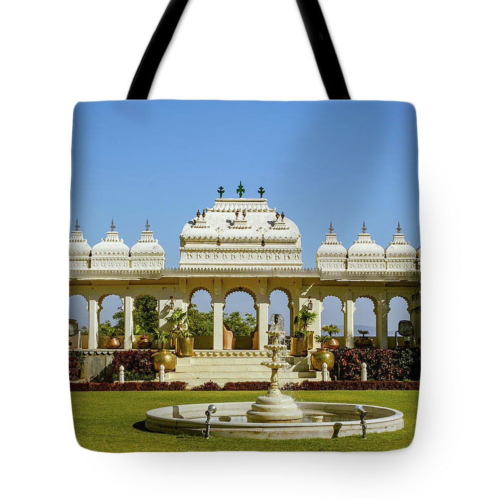 Pavilion Tote Bag featuring the photograph Pavilion And Fountain, Udaipur, India by Aashish Vaidya