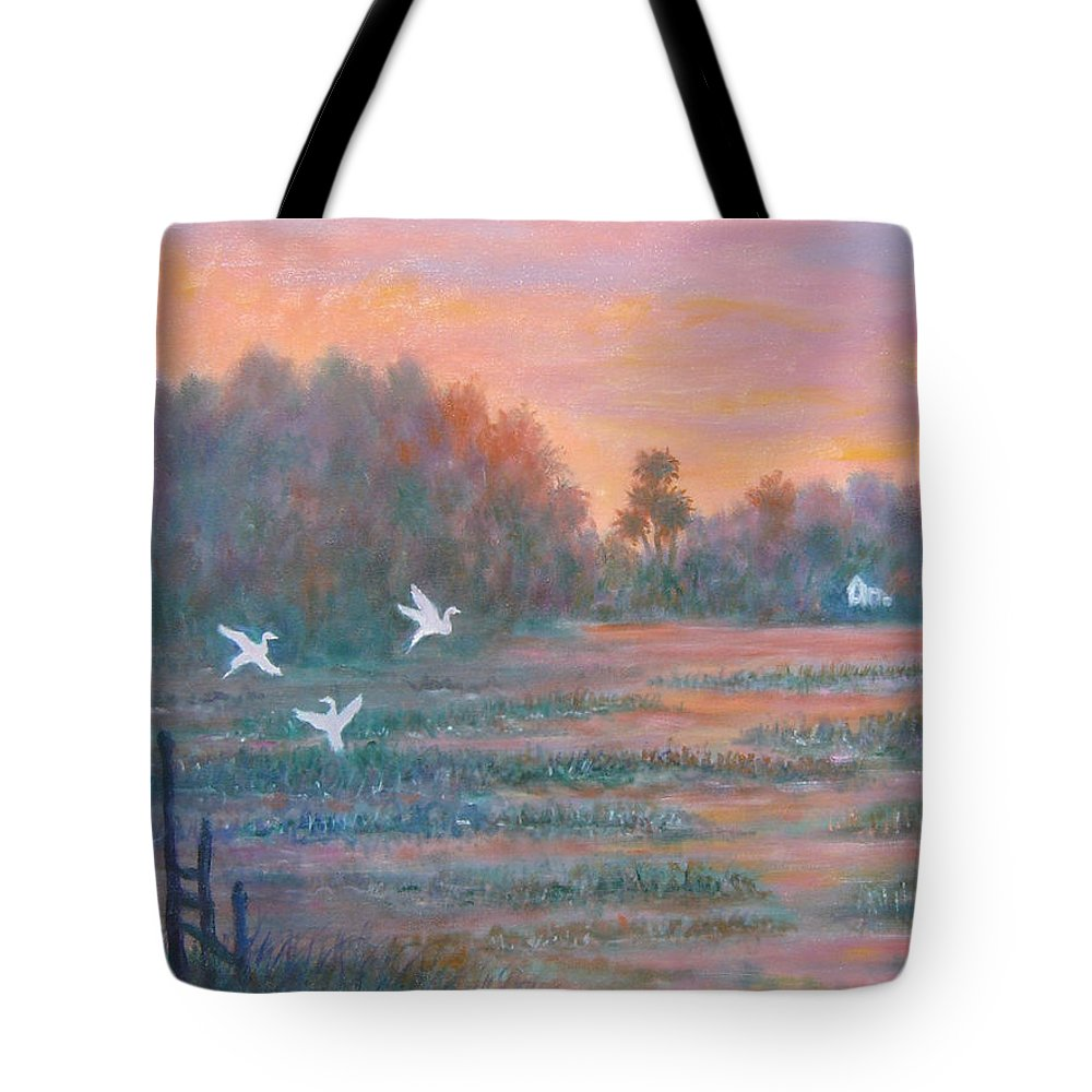 Low Country; Egrets; Sunset Tote Bag featuring the painting Pawleys Island by Ben Kiger