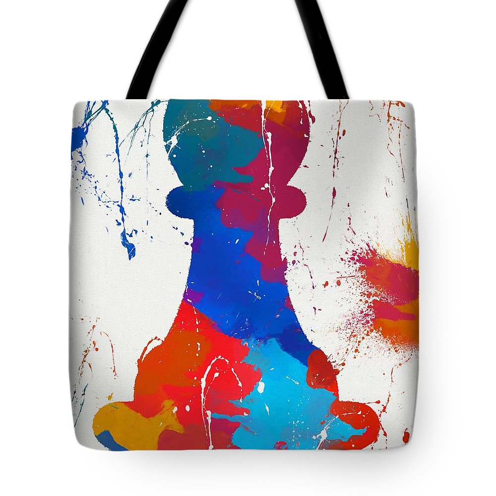 Pawns Tote Bag featuring the painting Pawn Chess Piece Paint Splatter by Dan Sproul