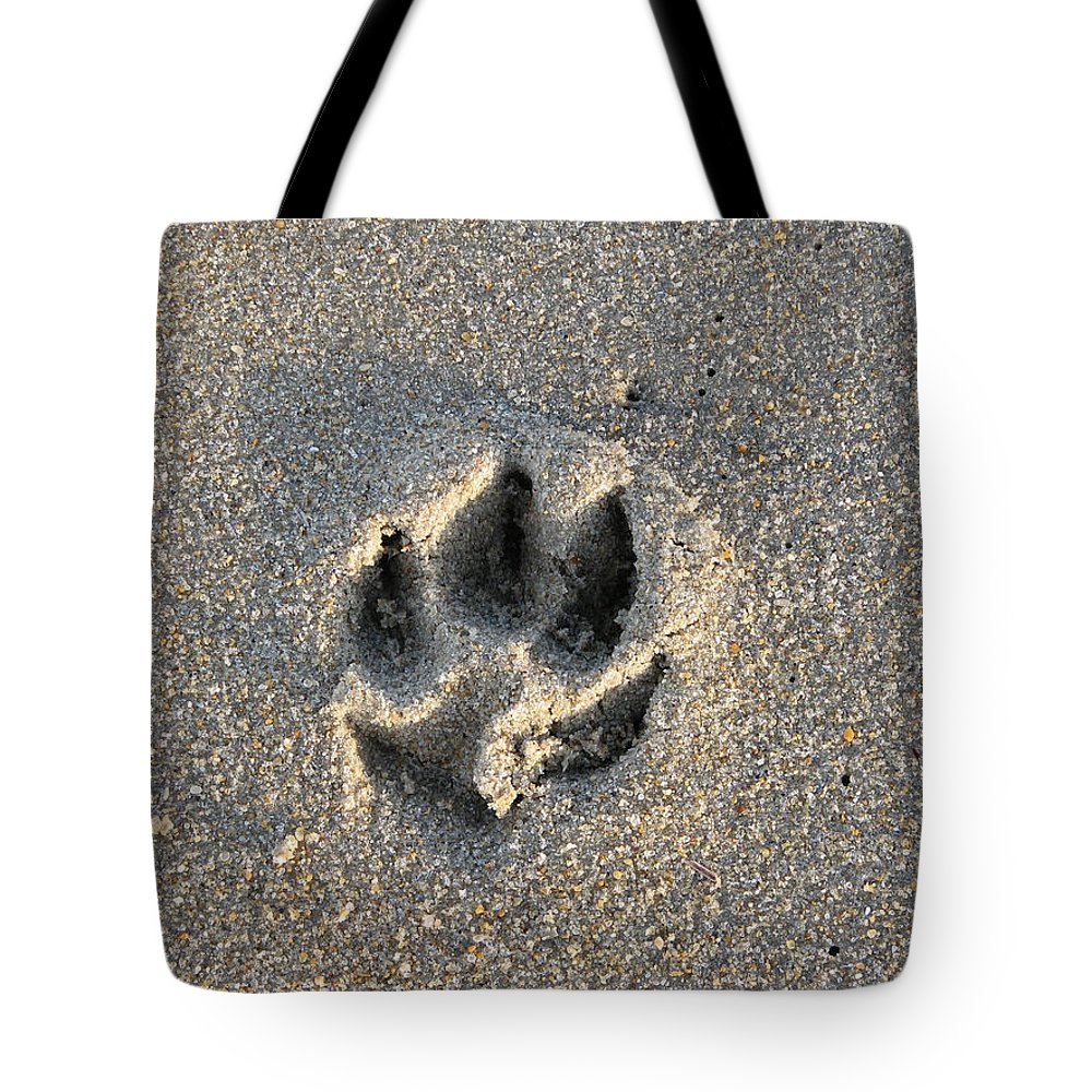 Dog Tote Bag featuring the photograph Pawprint In The Sand by Stacey May