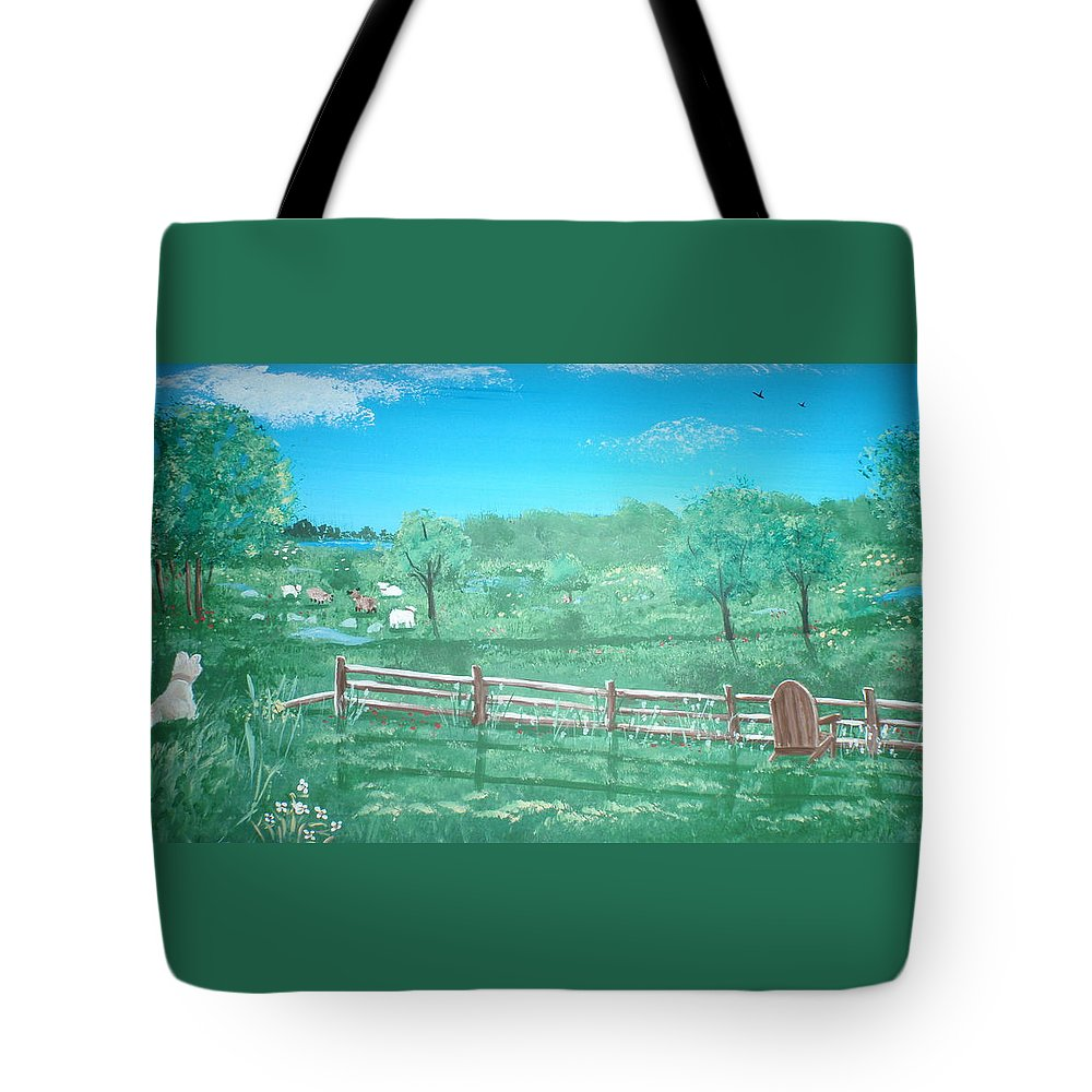 Folk Tote Bag featuring the painting Paynter Farm by Susan Michutka
