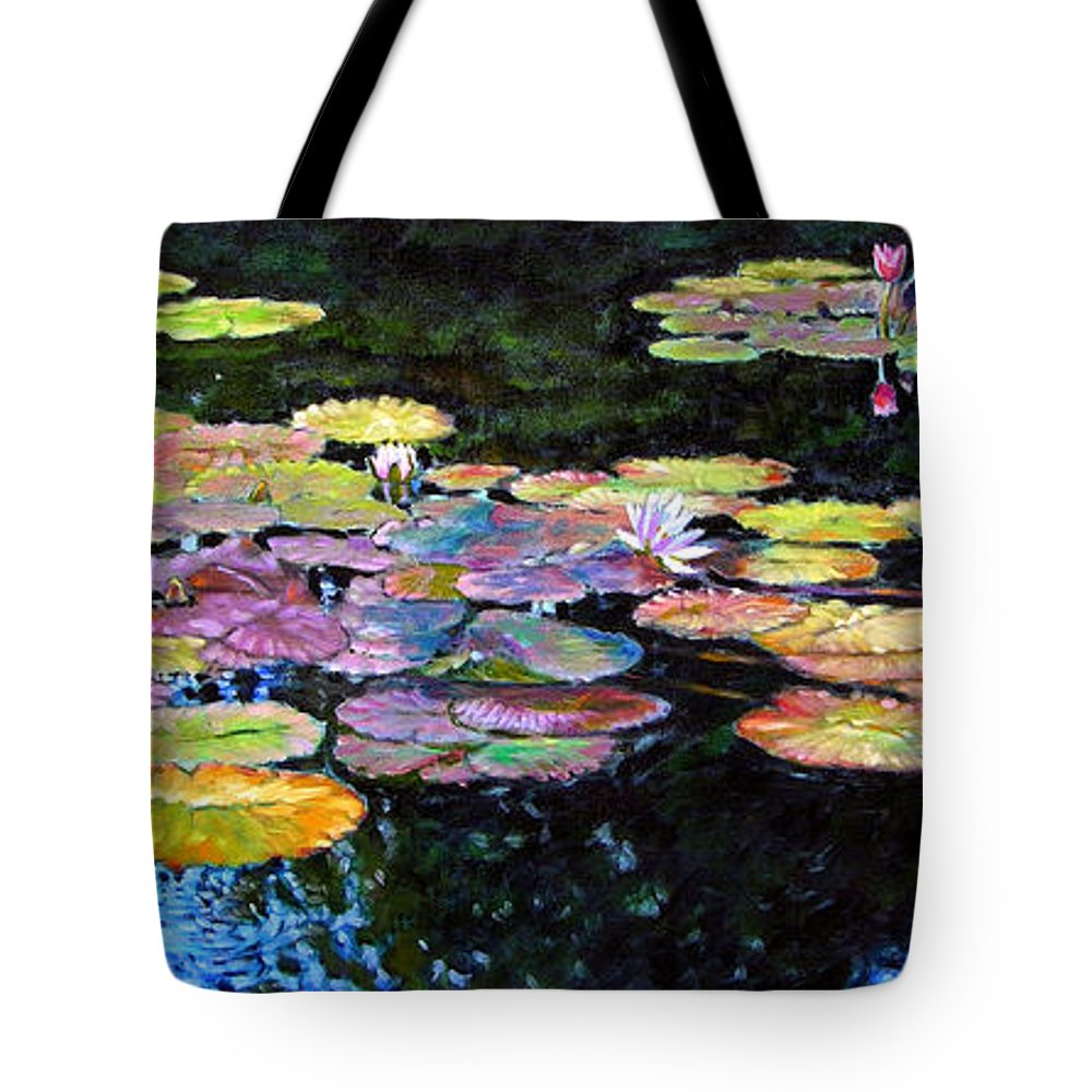 Water Lilies Tote Bag featuring the painting Peace Among the Lilies by John Lautermilch