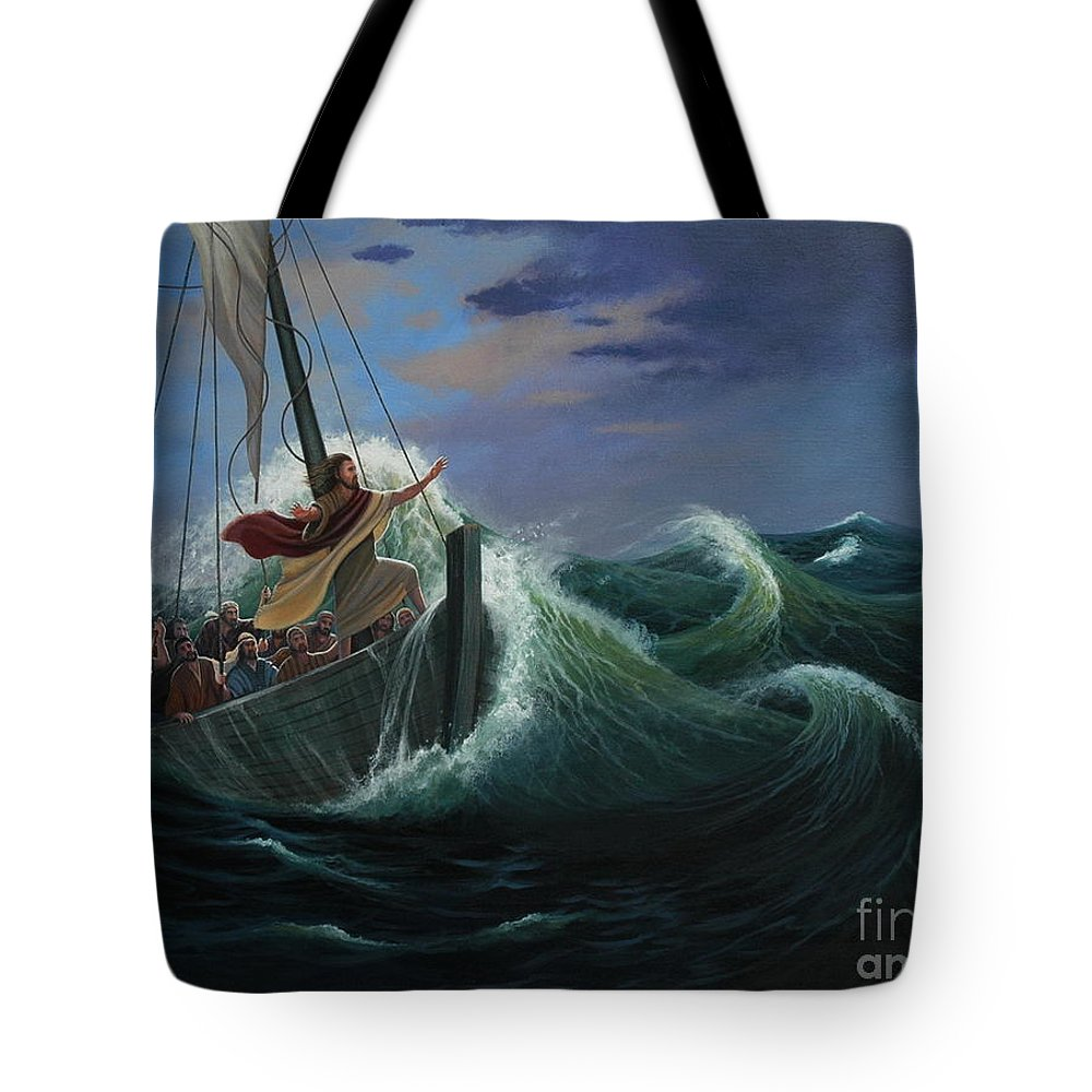 Bible Tote Bag featuring the painting Peace Be Still by Michael Nowak