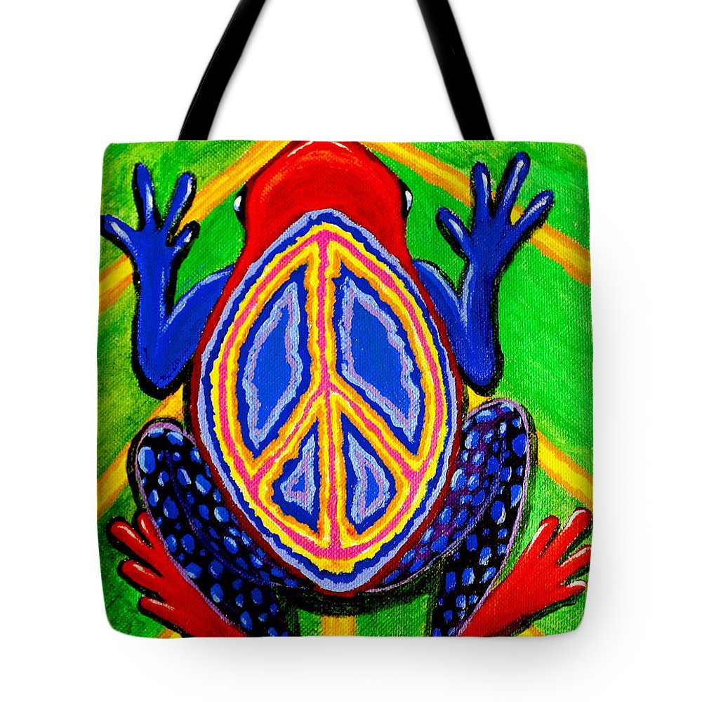 Peace Frogs Tote Bag featuring the painting Peace Frog Too by Nick Gustafson