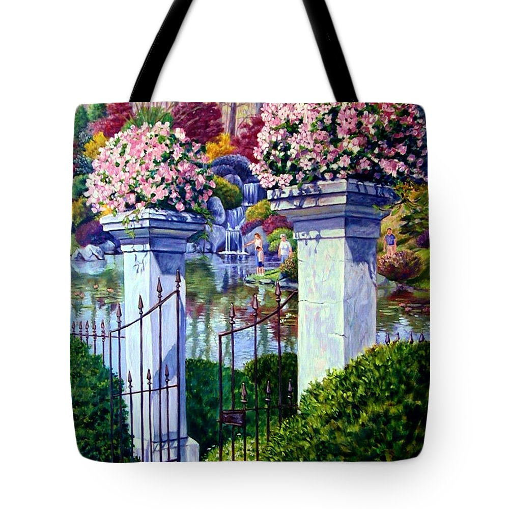 Garden Gates Tote Bag featuring the painting Peace In The Garden by John Lautermilch