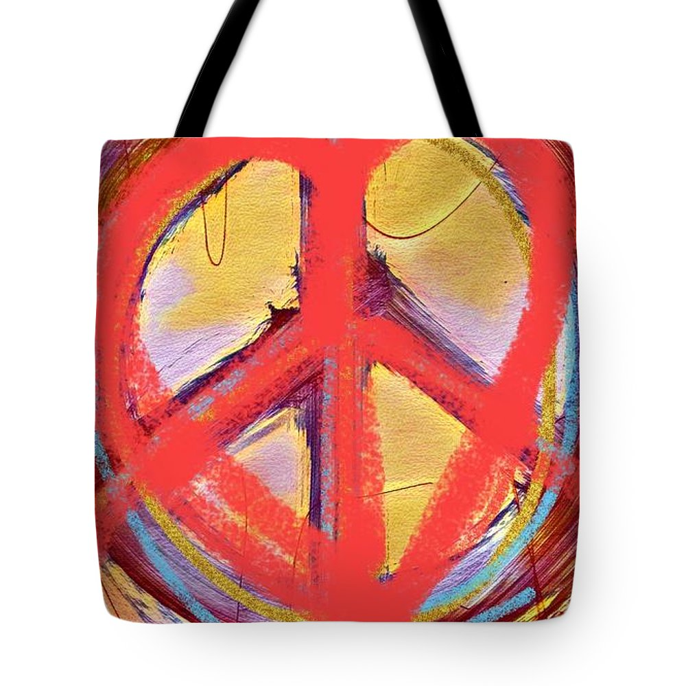 Peace Tote Bag featuring the mixed media Peace Love Art by Deborah Miller
