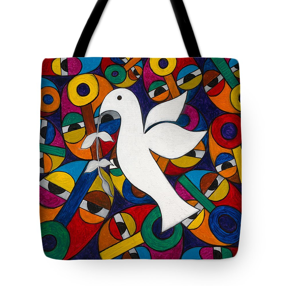 Dove Tote Bag featuring the painting Peace On Earth by Emeka Okoro