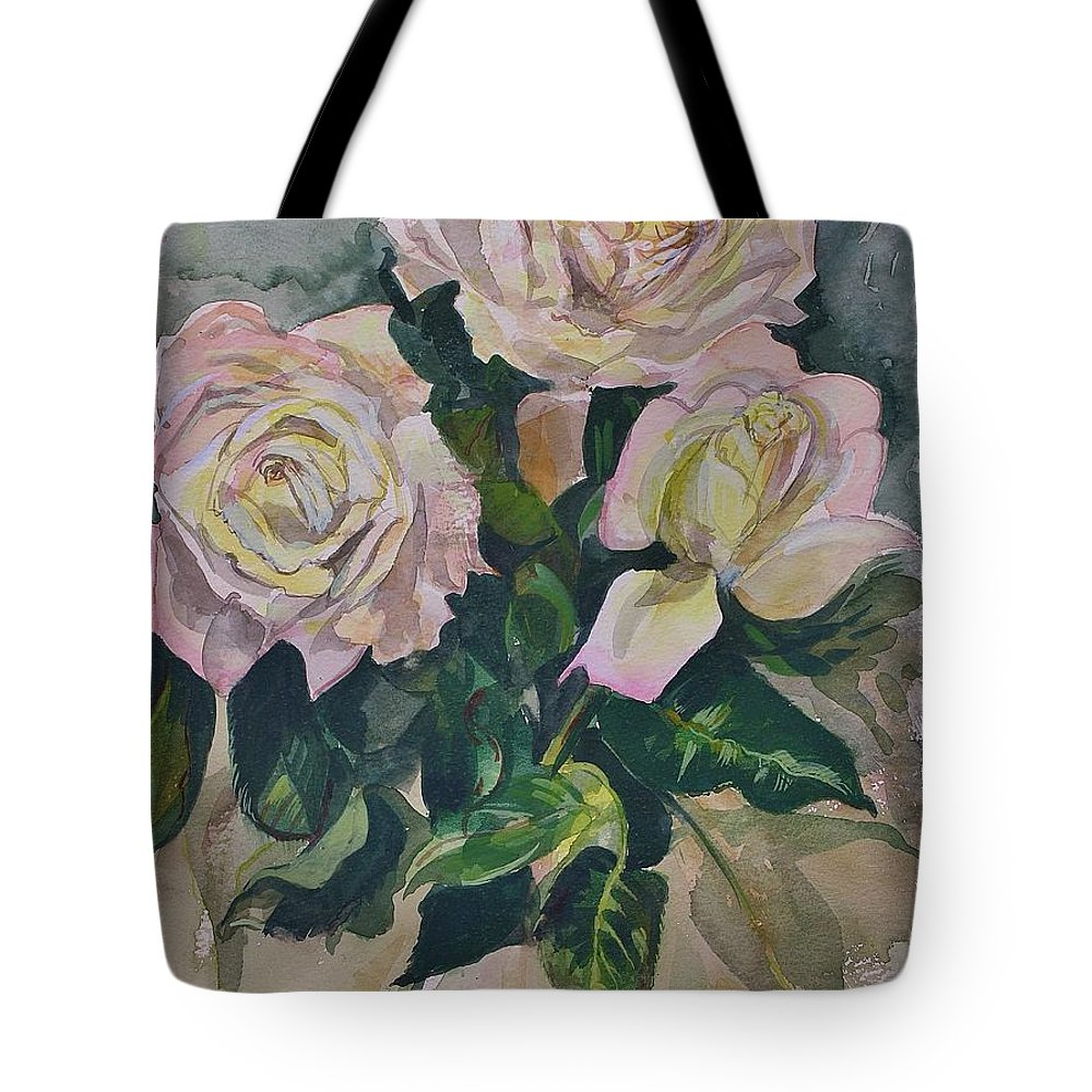Flowers Tote Bag featuring the painting Peace Rose by Bruce Repei