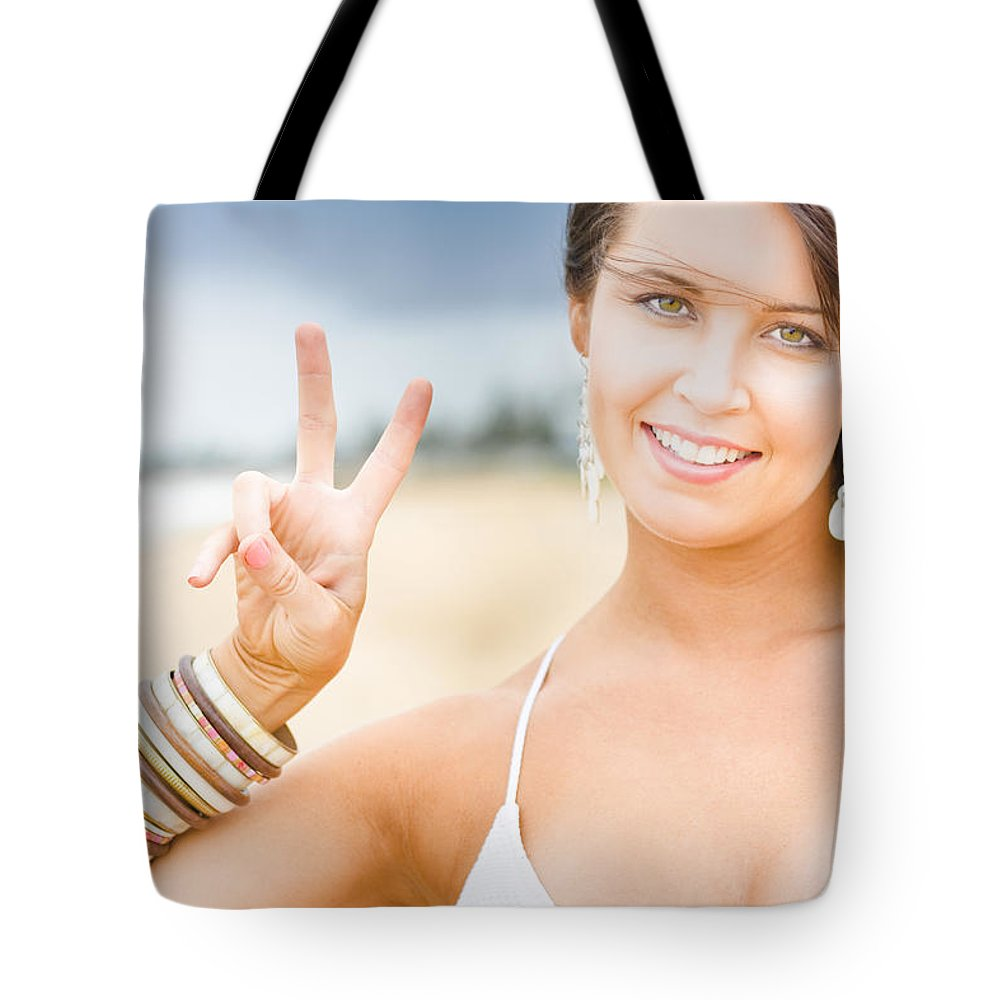 25-30 Tote Bag featuring the photograph Peace Sign by Jorgo Photography - Wall Art Gallery