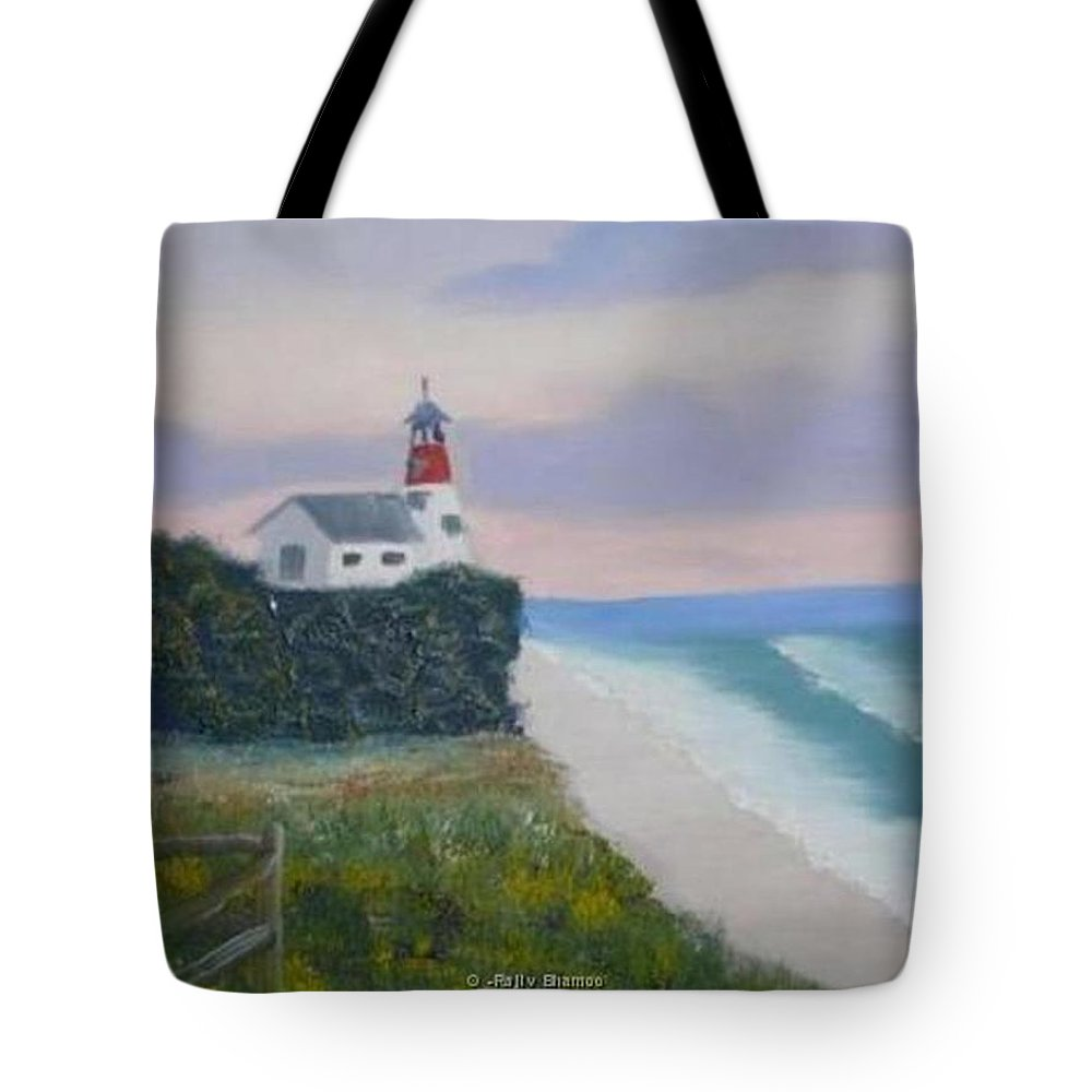 Seascape Tote Bag featuring the painting Peace Sold by R B