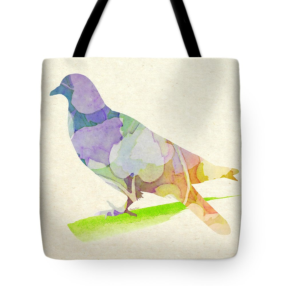 Pigeon Tote Bag featuring the mixed media Peace by Stacey Chiew