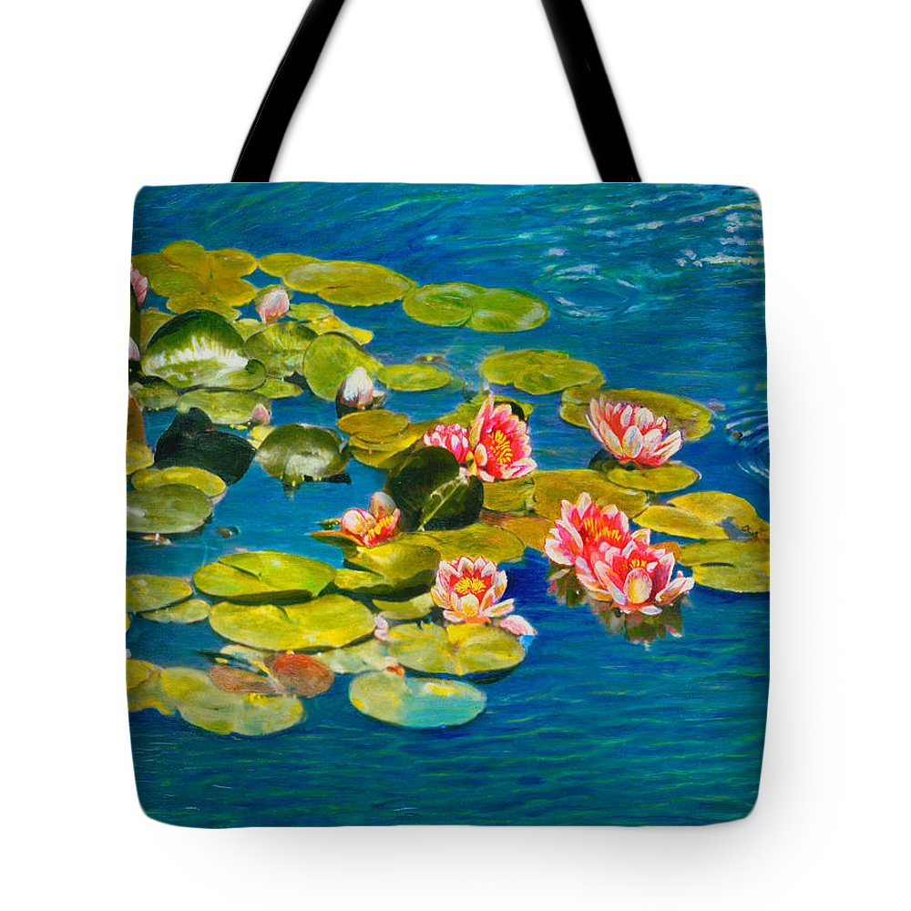 Water Lilies Tote Bag featuring the painting Peaceful Belonging by Michael Durst