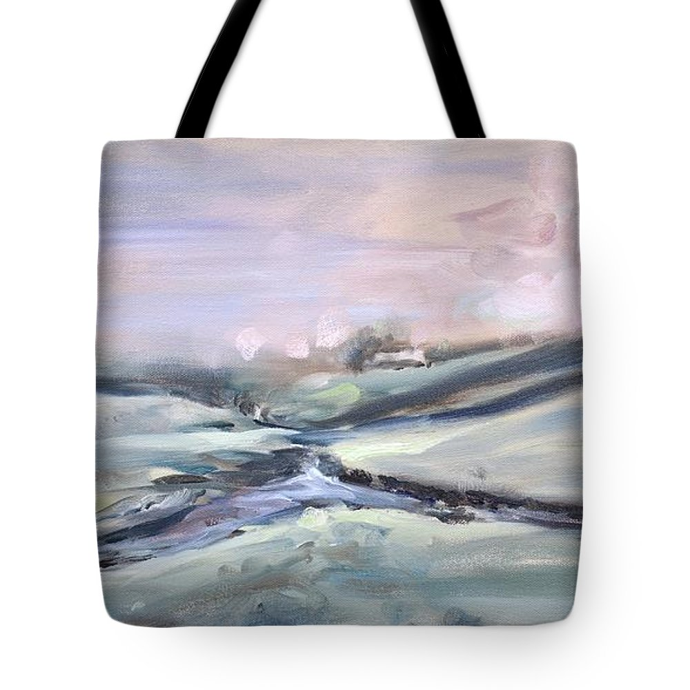Solitude Tote Bag featuring the painting Peaceful Brook by Donna Tuten