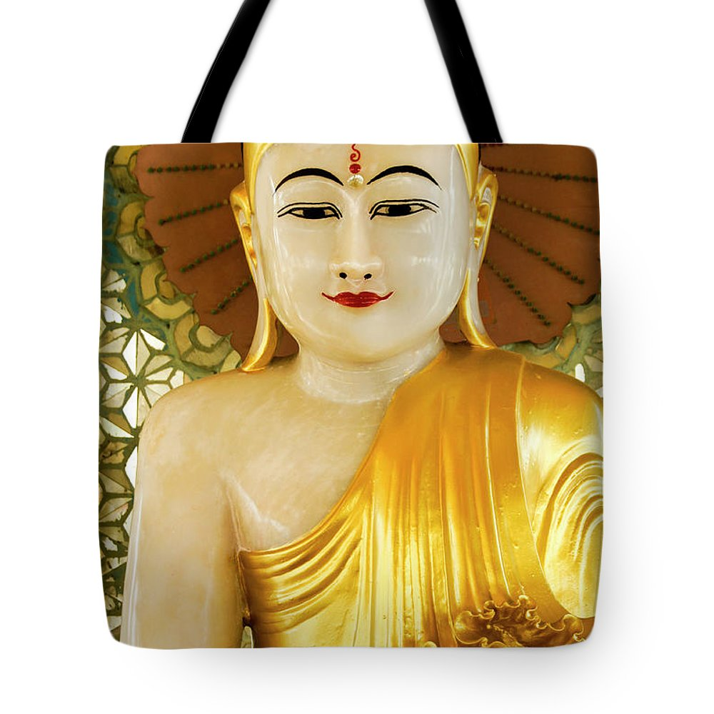 Asia Tote Bag featuring the photograph Peaceful Buddha by Michele Burgess
