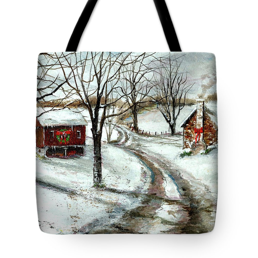 Christmas Tote Bag featuring the painting Peaceful Christmas Farm by C Keith Jones