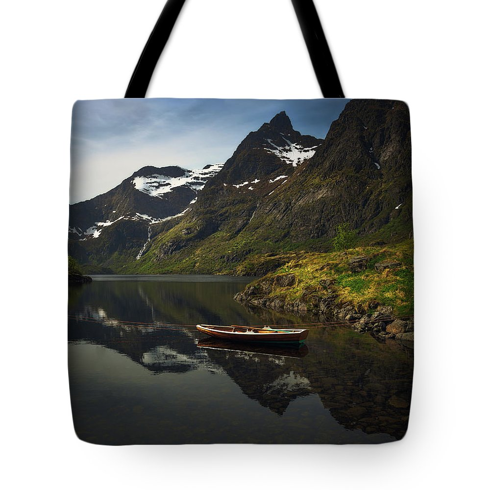 Boat Tote Bag featuring the photograph Peaceful Lofoten by Tor-Ivar Naess