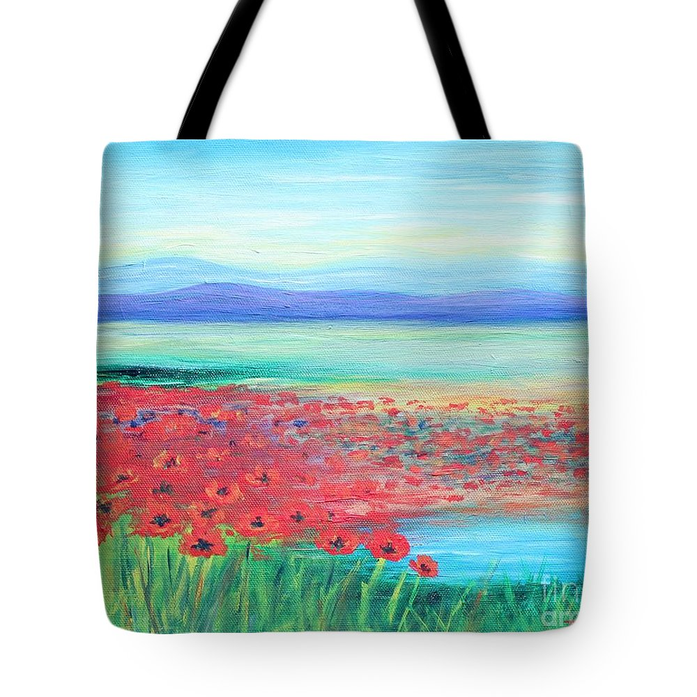 Poppies Tote Bag featuring the painting Peaceful Poppies by Tricia Lesky
