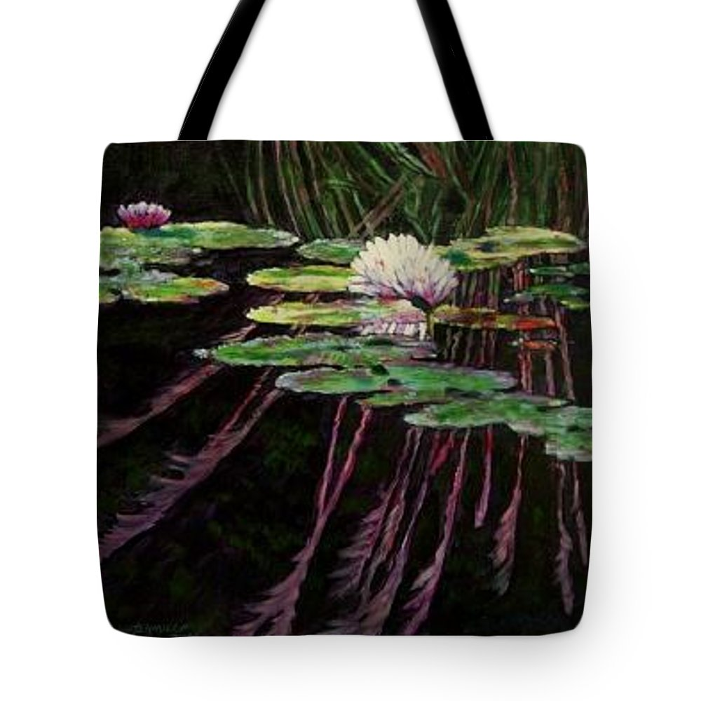 Quiet Pond With Water Lily And Reflections. Missouri Botanical Garden Tote Bag featuring the painting Peaceful Reflections by John Lautermilch
