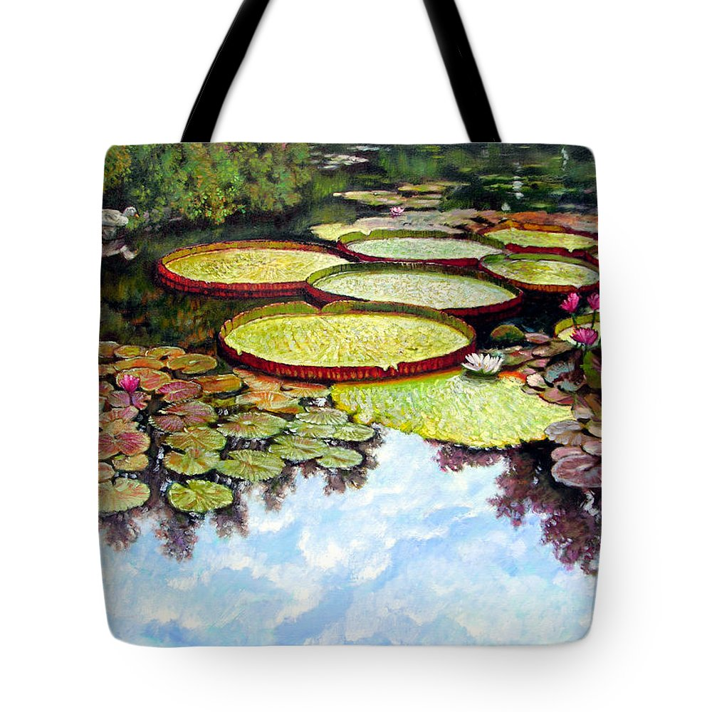 Landscape Tote Bag featuring the painting Peaceful Refuge by John Lautermilch