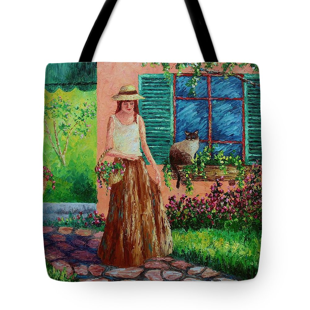 Woman Tote Bag featuring the painting Peaceful Thoughts by David G Paul