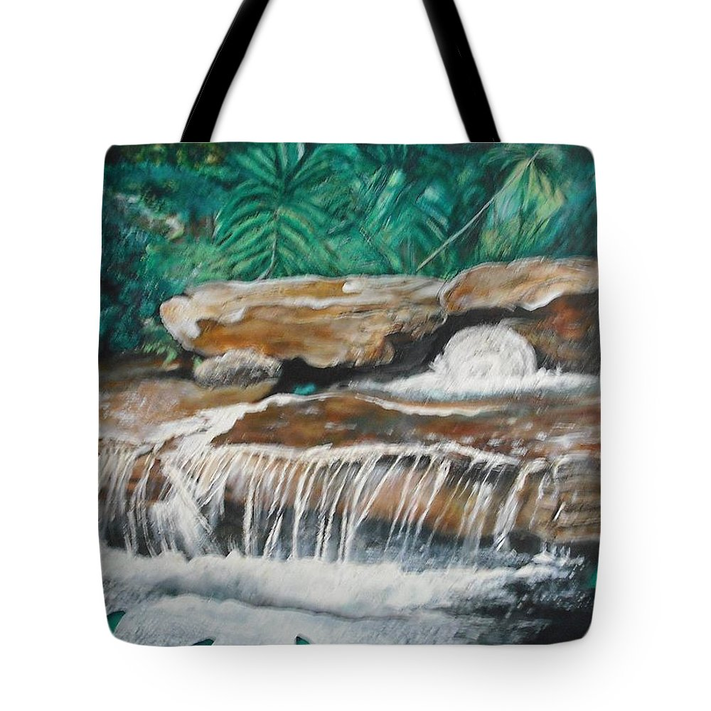 Landscape Tote Bag featuring the painting Peaceful Waters Flow by Anthony Hurt